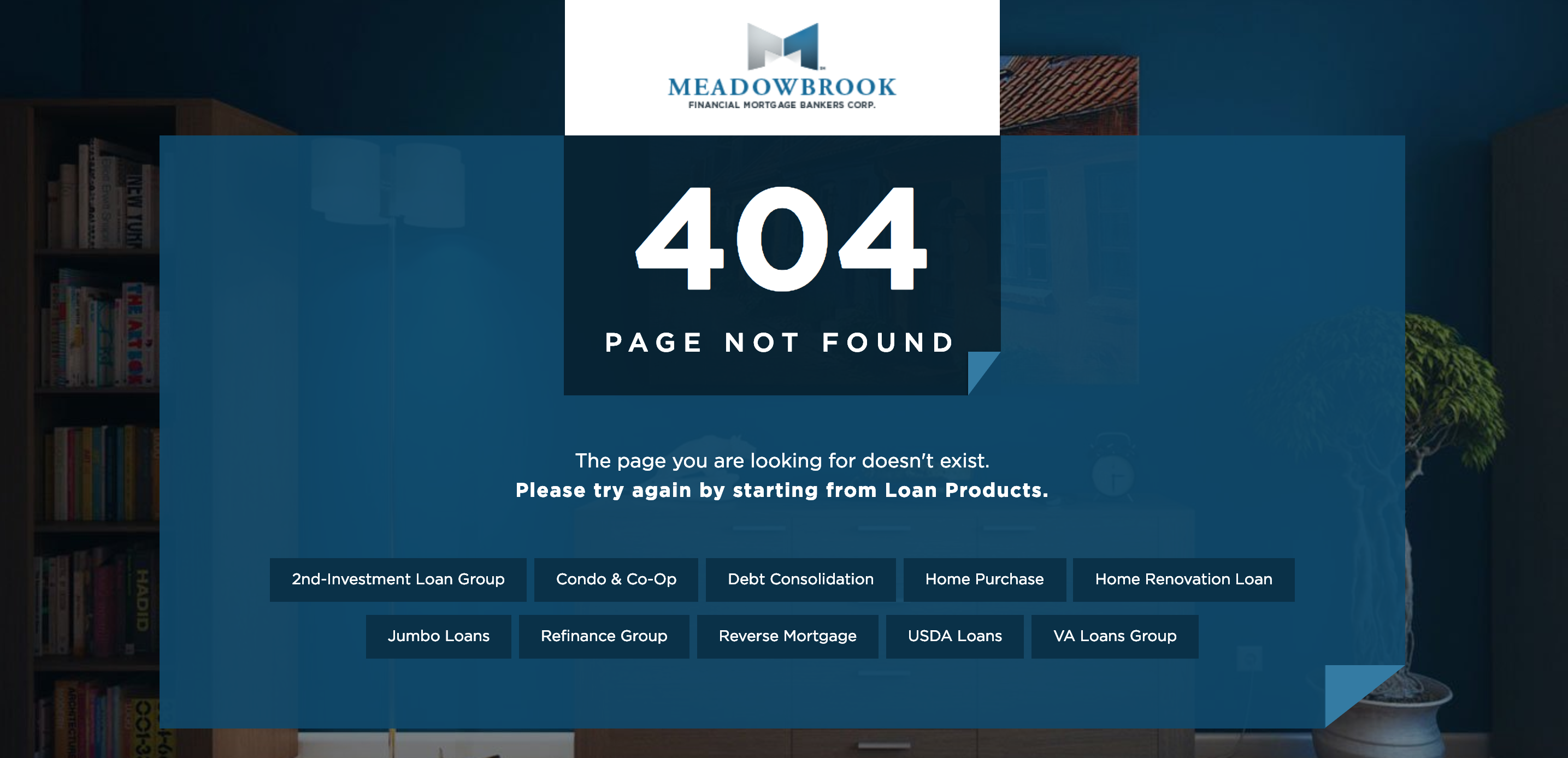 Meadowbrook 404 error page created by TND