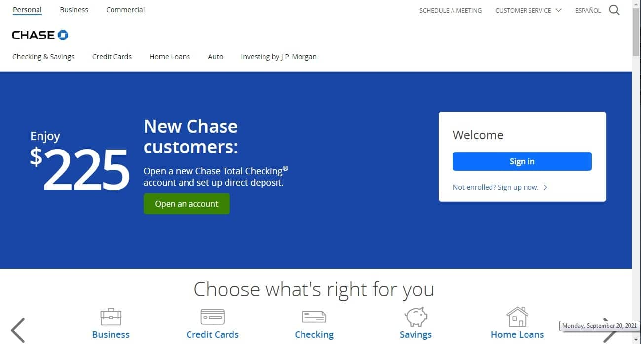 Chase Bank website - Top Notch Dezigns