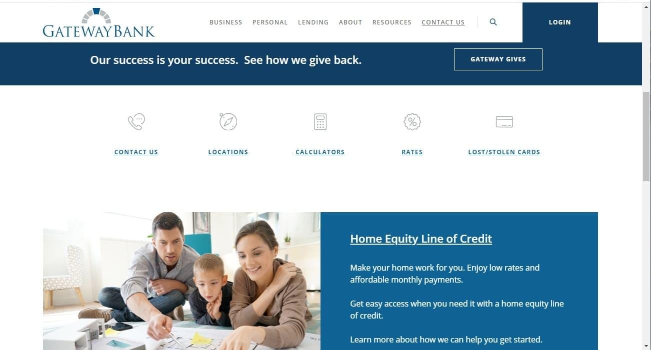 Gateway Bank website - Top Notch Dezigns